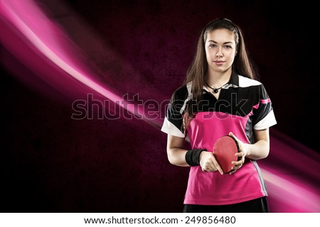 Portrait Of Young Woman with Racket for table tennis on pink Background - stock photo