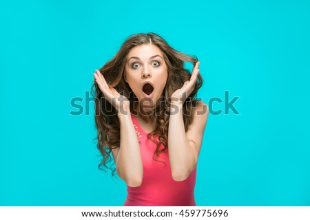 Portrait Young Woman Shocked Facial Expression Stock Photo ...  Portrait Young ...