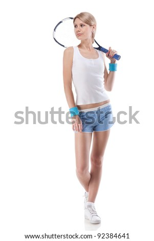 Portrait of young woman with tennis racket isolated on white - stock photo