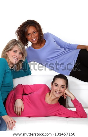 Portrait of young women sharing a flat - stock photo