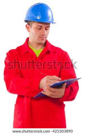 portrait of young worker with pincil and clipboard.