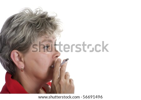 portrait on white - woman with cigarette