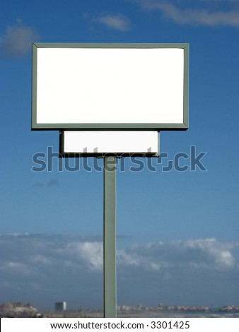 Portrait photo of a blank road sign