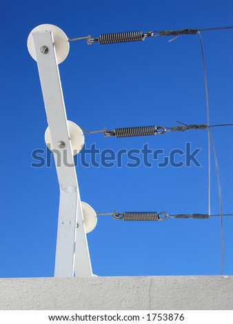Portrait photo of an electrified fence junction. - stock photo