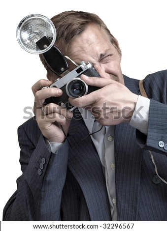 portrait photographer at work. Old camera and flash - stock photo