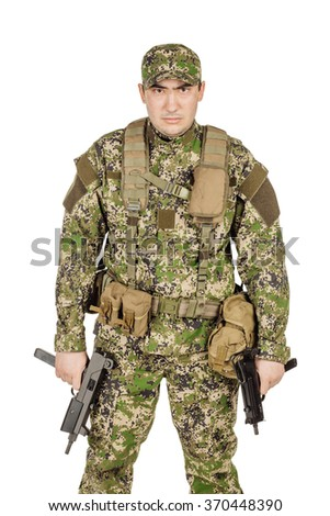 Portrait Private Military Contractor aiming handgyn. portrait isolated over white studio background. - stock photo