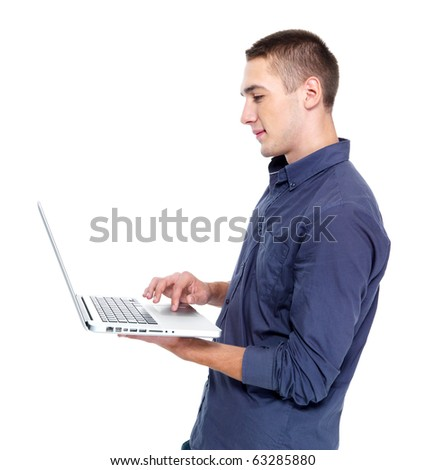 portrait  profile of happy young man with laptop - isolated on white