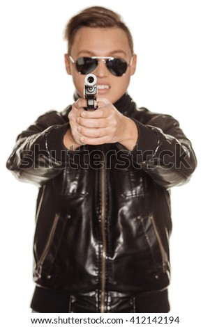 Portrait rebel man or private military contractor. war, army, weapon, technology and people concept. Image on a white background. - stock photo