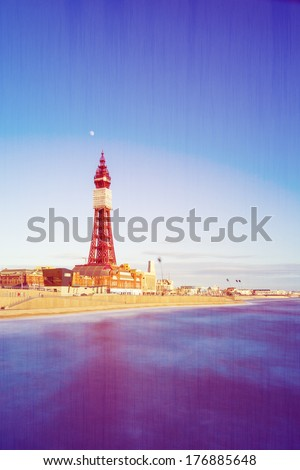Portrait Retro Photo Filter Effect Blackpool Tower, from the North Pier, Lancashire, England, UK - stock photo