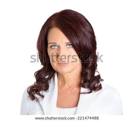 portrait sad unhappy woman isolated on white background  - stock photo