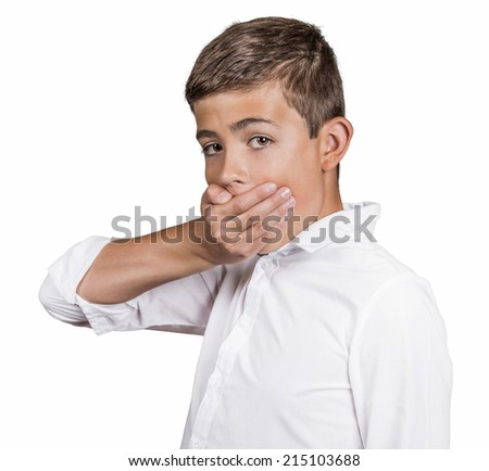 Portrait scared young handsome man looking surprised, hand covering mouth, someone shut him up, isolated white background. Human emotions, facial expressions, feelings, body language, reaction - stock photo