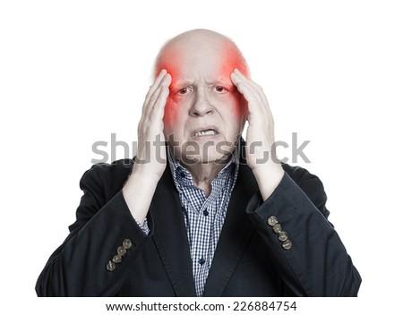 Portrait senior elderly man having headache isolated on white background. Negative human face expression, emotion - stock photo