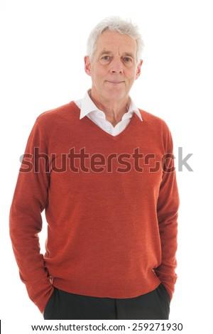 Portrait senior man isolated over white background - stock photo