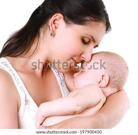 Portrait sensual mom and sleeping baby, tenderness - stock photo