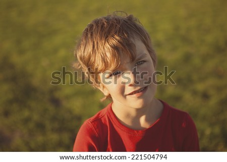 Portrait serious boy in red sweater, summer, field, outdoor - stock photo