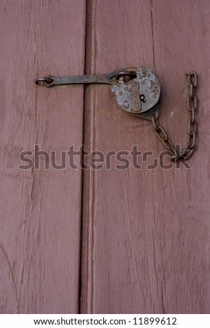 Portrait shot of a lock in Colonial Williamsburg - stock photo