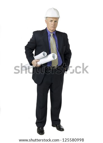 Portrait shot old architect with white hardhat and blueprint paper. - stock photo