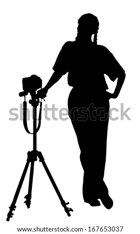 portrait silhouette of a young woman photographer holding a camera ( clipping path )