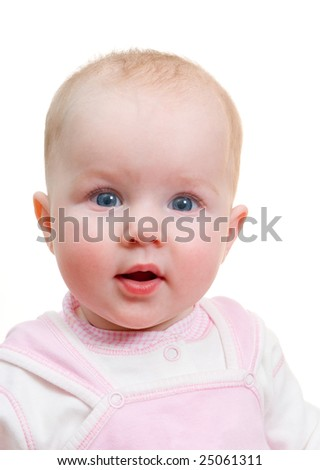 Portrait small  caucasian girl  isolated on a white background