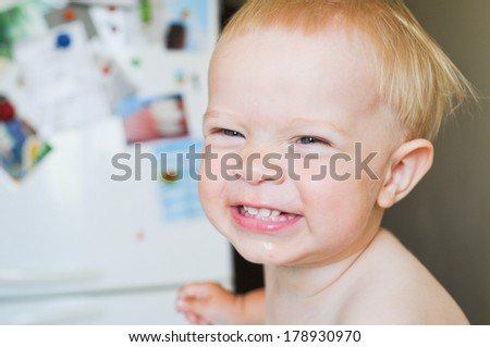 Portrait smiling baby boy close up - stock photo
