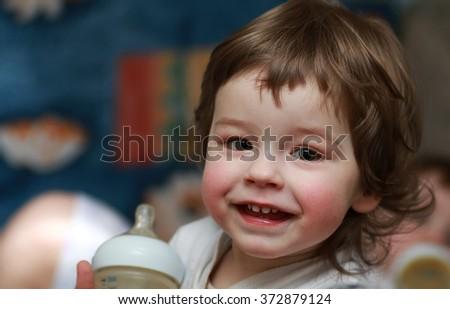 portrait smiling boy child - stock photo