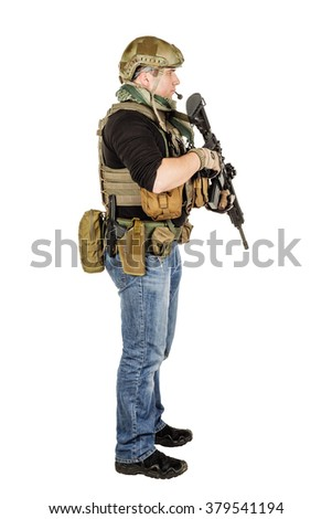 Portrait soldier or private military contractor with sniper rifle. war, army and people concept. image isolated on a white background. - stock photo