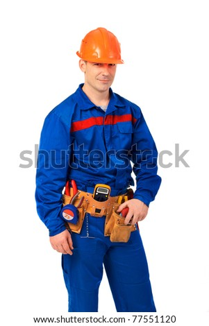 Portrait technician man in work wear with instrument and step ladder - stock photo