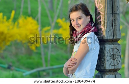 portrait  teenage girl in spring time - stock photo