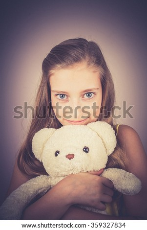 Portrait teenage girl with white teddy bear, Noise grain effect, vintage, old fashion