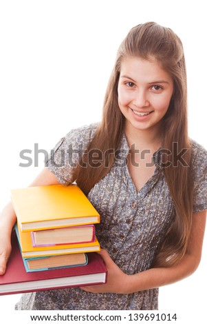 portrait teenager girl on a white background