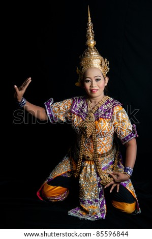 Portrait Thai Dancing Art ,Khon Thai Classical masked ballet in black background. - stock photo