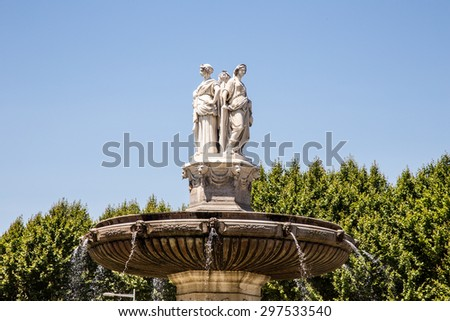 Portrait view of Fountain at La Rotonde in Aix-en-Provence, France - stock photo