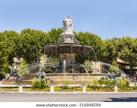 Portrait view of Fountain at La Rotonde in Aix-en-Provence, France