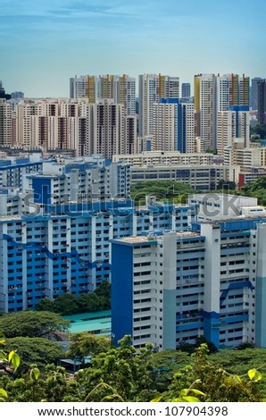 Portrait view of Singapore Housing Estate built by Housing Development of Singapore - stock photo