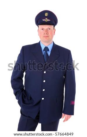 Portrait von einem Feuermann in Uniform vor weiÃ?em Hintergrund - stock photo
