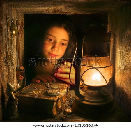 Portrait with Girl and Lantern.