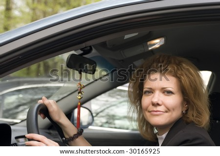 portrait Woman Driving Her Car close up