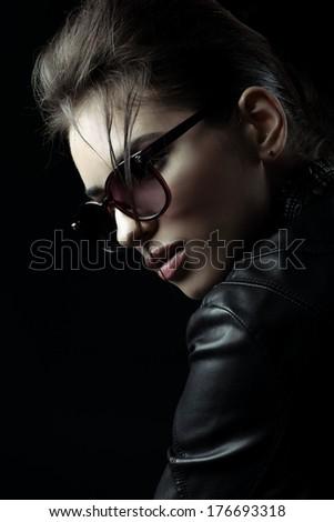 Portrait woman in jacket - stock photo