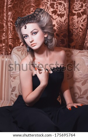 Portrait woman in the vintage style - stock photo