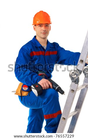 Portrait work man in work-wear with instrument and drill against white - stock photo