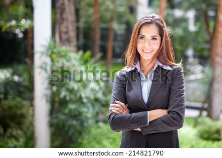 Portrait young attractive businesswoman. - stock photo