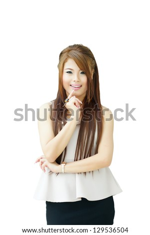 Portrait young beautiful casual woman standing isolated against white background. Model is Asian woman. - stock photo