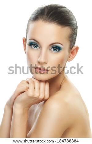 Portrait young beautiful dark-haired woman with bared shoulders close up, isolated on white background. - stock photo