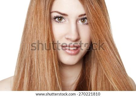 Portrait young beautiful redhead woman - stock photo