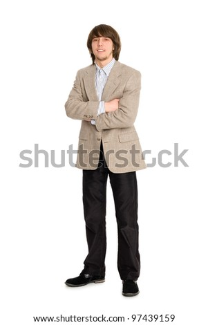 Portrait young business man with hands folded on white