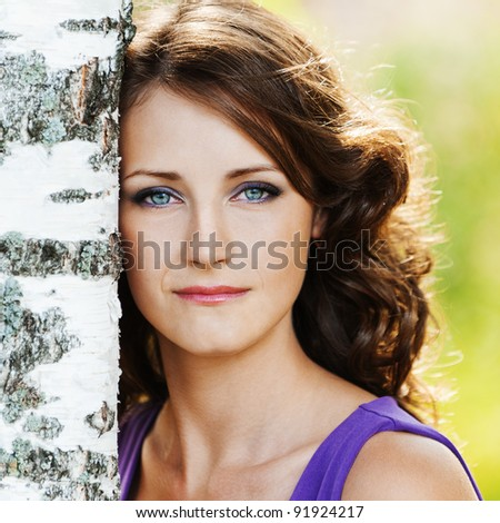 portrait young charming woman sad lonely leaned birch background summer nature