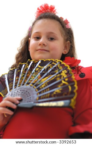 portrait young girl with fan on a white background