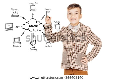 Portrait young happy boy sketch cloud computing concept on glassboard isolated on white studio background. - stock photo
