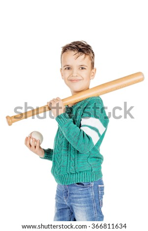 Portrait young happy boy with wooden baseball bat and ball isolated on white studio background. - stock photo