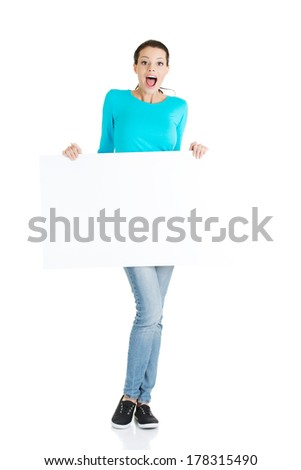 Portrait young happy woman with blank board , isolated on white